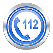 emergency call icon, blue button, 112 call sign
