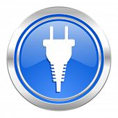 plug icon, blue button, electric plug sign
