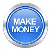make money icon, blue button