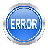 error icon, blue button