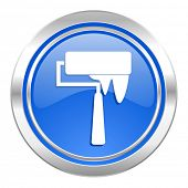 brush icon, blue button, paint sign