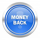 money back icon, blue button