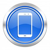 smartphone icon, blue button, phone sign