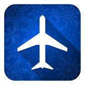 plane flat icon, christmas button, airport sign