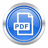 pdf file icon, blue button