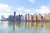 Manhattan skyline and East River.