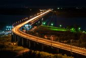 Night View Of The Khabarovsk Bridge Across The Amur River