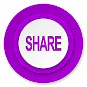 share icon, violet button