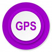 gps icon, violet button