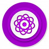 atom icon, violet button