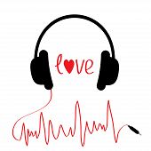 Black Headphones With Red Cord  In Shape Of Cardiogram. Isolated