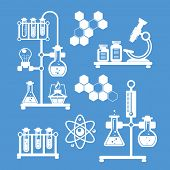Chemistry decorative icons set