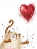 Постер, плакат: Love Cute cat with red heart Cat in love Valentines day postcard Love background