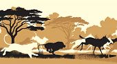 stock photo of wildebeest  - EPS8 editable vector cutout illustration of lions chasing a herd of wildebeest - JPG