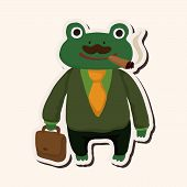 stock photo of cute frog  - animal frog worker cartoon theme elements - JPG