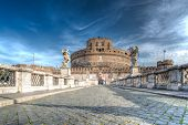 stock photo of emperor  - Ancient bridge on Tiber river  - JPG