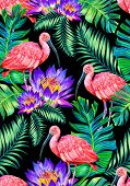 foto of scarlet ibis  - seamless tropical pattern with birds and flowers - JPG