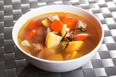 picture of veal  - Veal soup with potatos carrots and onion - JPG