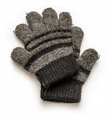 picture of outerwear  - Black knitted gloves for winter on white background - JPG