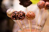 image of cake-ball  - variety of desert sweet cake ball sticks - JPG
