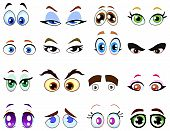 pic of angry man  - Vector design set of colorful Cartoon eyes - JPG