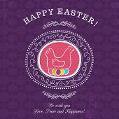 foto of easter card  - Purple greetings card for Easter Day with roundet frames 