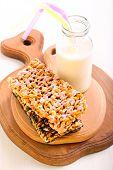 image of crispy rice  - Puffed rice crispy bars with chocolate glaze - JPG