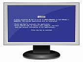 stock photo of blue-screen-of-death  - Computer screen with the blue screen of death message - JPG