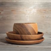 picture of steam  - Empty bowl with hot steams on old wooden table - JPG