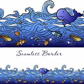stock photo of shell-fishes  - Hand drawn blue seamless water border with waves - JPG