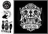 foto of bowling ball  - Vector totem mask isolated. Vintage Label in the form of a totem mask for the bowling club.