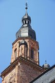 picture of holy-spirit  - Clock tower and spire of Cathedral of Holy Spirit in Heidelberg at sunny weather - JPG