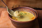 stock photo of vegetable soup  - Oriental soup. Eastern food. Arab food. Soup with bread. ** Note: Shallow depth of field - JPG