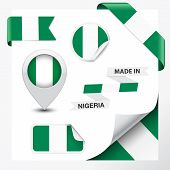 foto of nigeria  - Made in Nigeria collection of ribbon label stickers pointer badge icon and page curl with Nigerian flag symbol on design element vector illustration - JPG