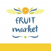 stock photo of fruit-juice  - Vector logo for a market of fruits - JPG