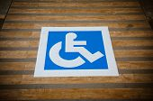 pic of crippled  - the blue road marking for disabled and invalid parking - JPG