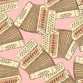 stock photo of accordion  - Sketch accordion music instrument in vintage style vector seamless pattern - JPG