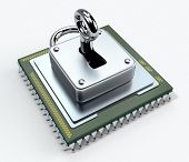 stock photo of cpu  - one cpu with a padlock on white background concept of computer security  - JPG