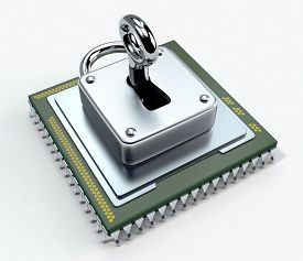 picture of cpu  - one cpu with a padlock on white background concept of computer security  - JPG