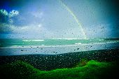 foto of raindrops  - rainbow over the ocean at rays rest - JPG