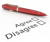image of disapproval  - Agree and Disagree check boxes with pen to choose or vote a final answer to approve or disapprove a proposal or question - JPG