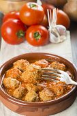 pic of meatball  - Meatballs with tomato sauce on the table of the kitchen - JPG
