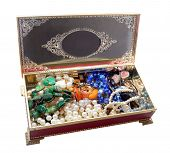 stock photo of vintage jewelry  - Open vintage red jewelry box - JPG