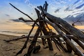 picture of driftwood  - The sun sets behind a leanto built from driftwood on a a sandy beach in Pinery Provincial Park  - JPG