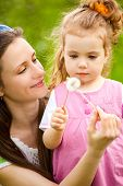 stock photo of cute little girl  - Mother and curly toddler girl with dandelions - JPG