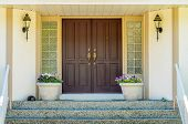 picture of nice house  - A nice entrance of a luxury house over outdoor landscape - JPG
