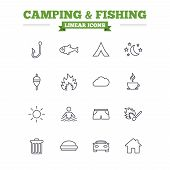 stock photo of hook  - Camping and fishing linear icons set - JPG