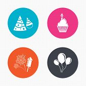 pic of birthday hat  - Circle buttons - JPG