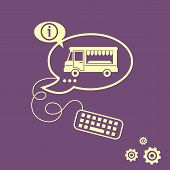 stock photo of meals wheels  - Food truck icon and keyboard design elements - JPG