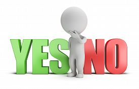 picture of 3d  - 3d small person standing between the words yes and no - JPG